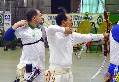 Michele  frangilli e Mario Panosetti , impegnati negli scontri diretti ai campionati Italiani Indoor.